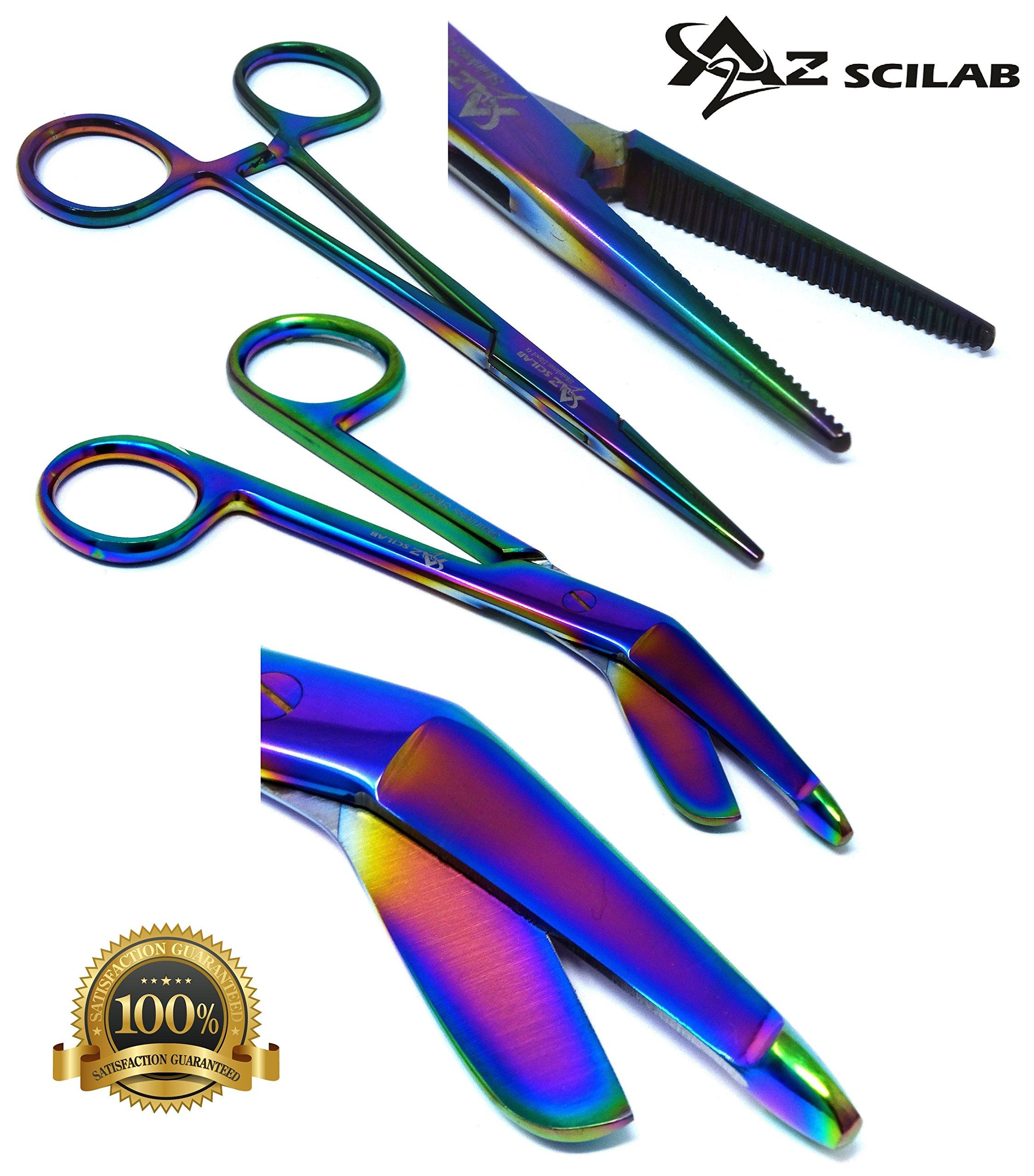 Heavy Duty Multi Rainbow Color Lister Bandage Trauma Shears Scissors + Hemostat Forceps Straight PREMIUM QUALITY (A2ZSCILAB) (5.5'' Scissors + 5.5'' Straight Hemostat)