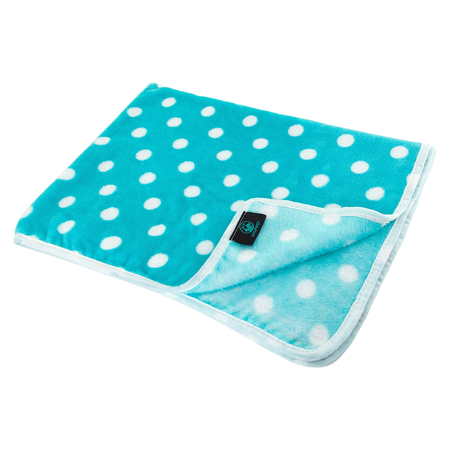 UTOPIPET Multi-Pack of 3 Pet Blankets for Dog Cat Animal 35 x 27 Inches Fleece Polka Dot Design All Year Round Puppy Kitten Bed Warm Sleep Mat Fabric Indoors Outdoors