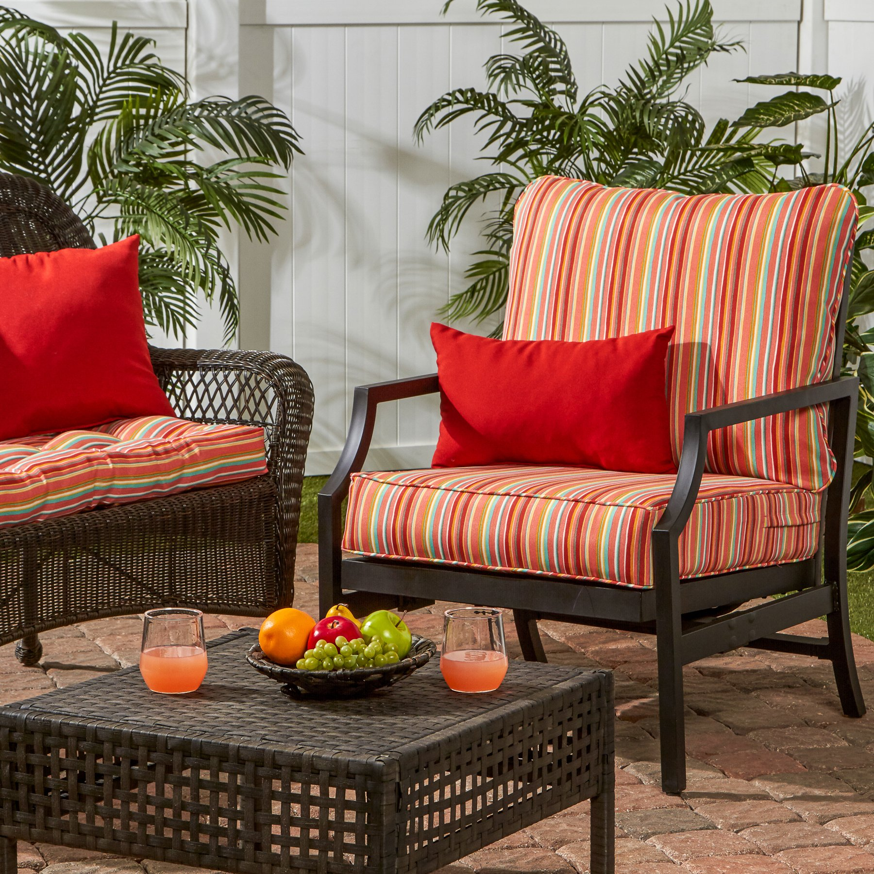 Greendale Home Fashions Deep Seat Cushion Set in Coastal Stripe, Watermelon by Greendale Home Fashions (Image #4)