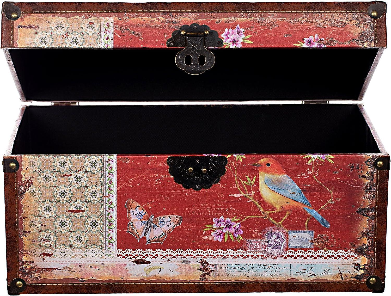 Kleinm/öbel Schatzkiste,Kiste Piratenkiste Holz, Mit Metallbeschl/ägen Sarah B Truhe Kiste KD 1515 Deko Truhe Vogel Holztruhe mit Leder bezogen im Vintage Look Antikoptik