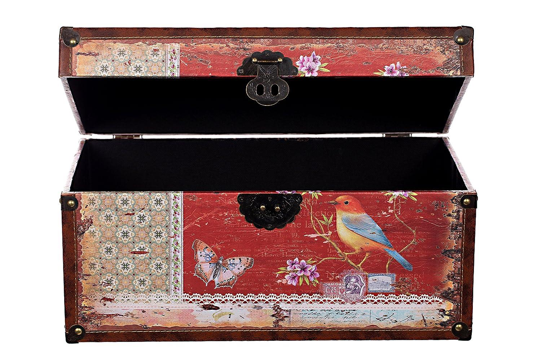 Truhe Kiste Kd 1515 Deko Truhe Vogel Holztruhe Mit Leder Bezogen Im