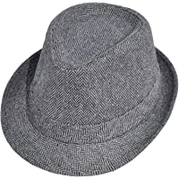 Simplicity Unisex Structured Gangster Trilby Wool Fedora Hat 3071_Bk/CharcoalOne Size