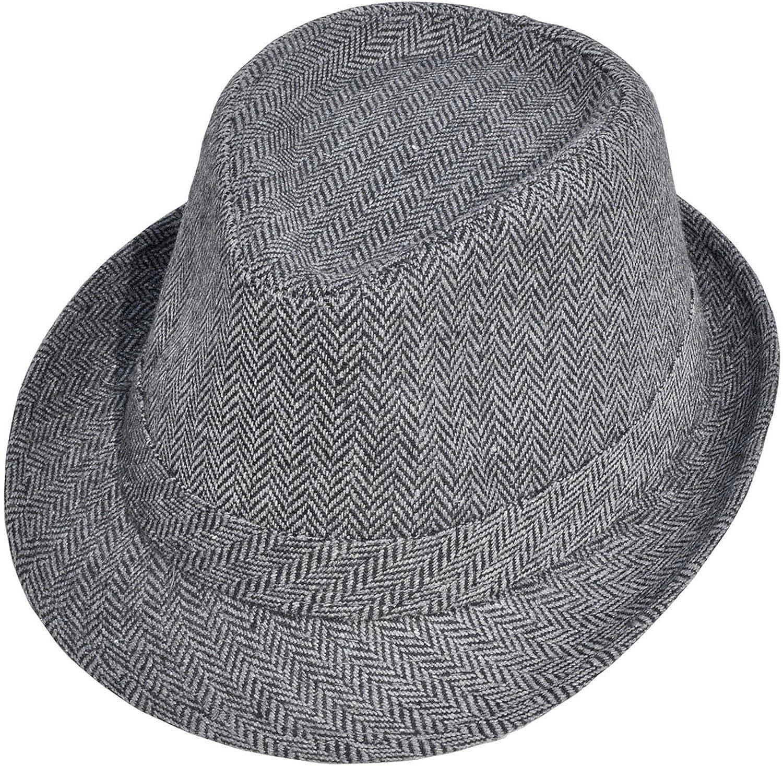 Simplicity Men Women Chevron Print Felt Hat Trilby Wool Fedora Cap 1_Black/Charcoal