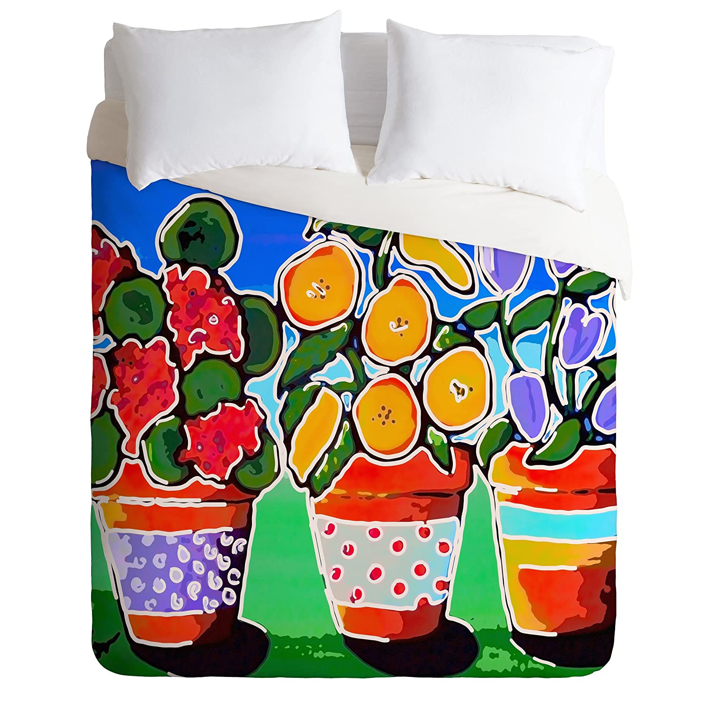 Twin//Twin XL Deny Designs Renie Britenbucher Flower Pot Trio Duvet Cover
