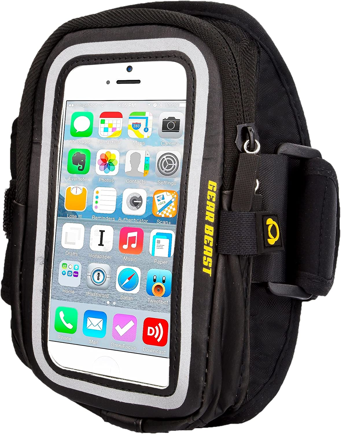 Gear Beast GearWallet iPhone 7 Sports Armband for Running, Workout, Compatible w/ Otterbox Type Cases, Large Capacity Storage Pocket, 4 Card Slots, Keys, Earbuds Also fits Phone 6S, 6 & More Gear Sports Wallet - Ip7