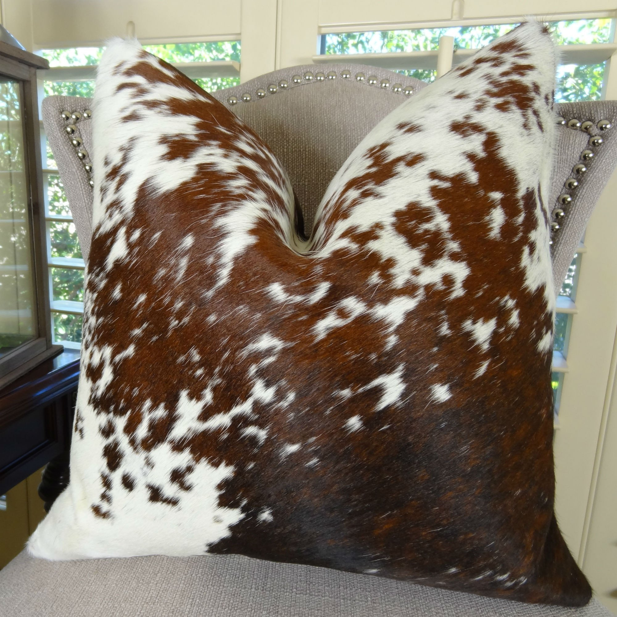 Thomas Collection Decorative Cowhide Throw Pillow, Brown White Cowhide Pillow, High End Cowhide Sofa Pillow, Brazilian Cowhide Accent Sofa Pillow, COVER ONLY, NO INSERT, Made in America, 16605 by Thomas Collection