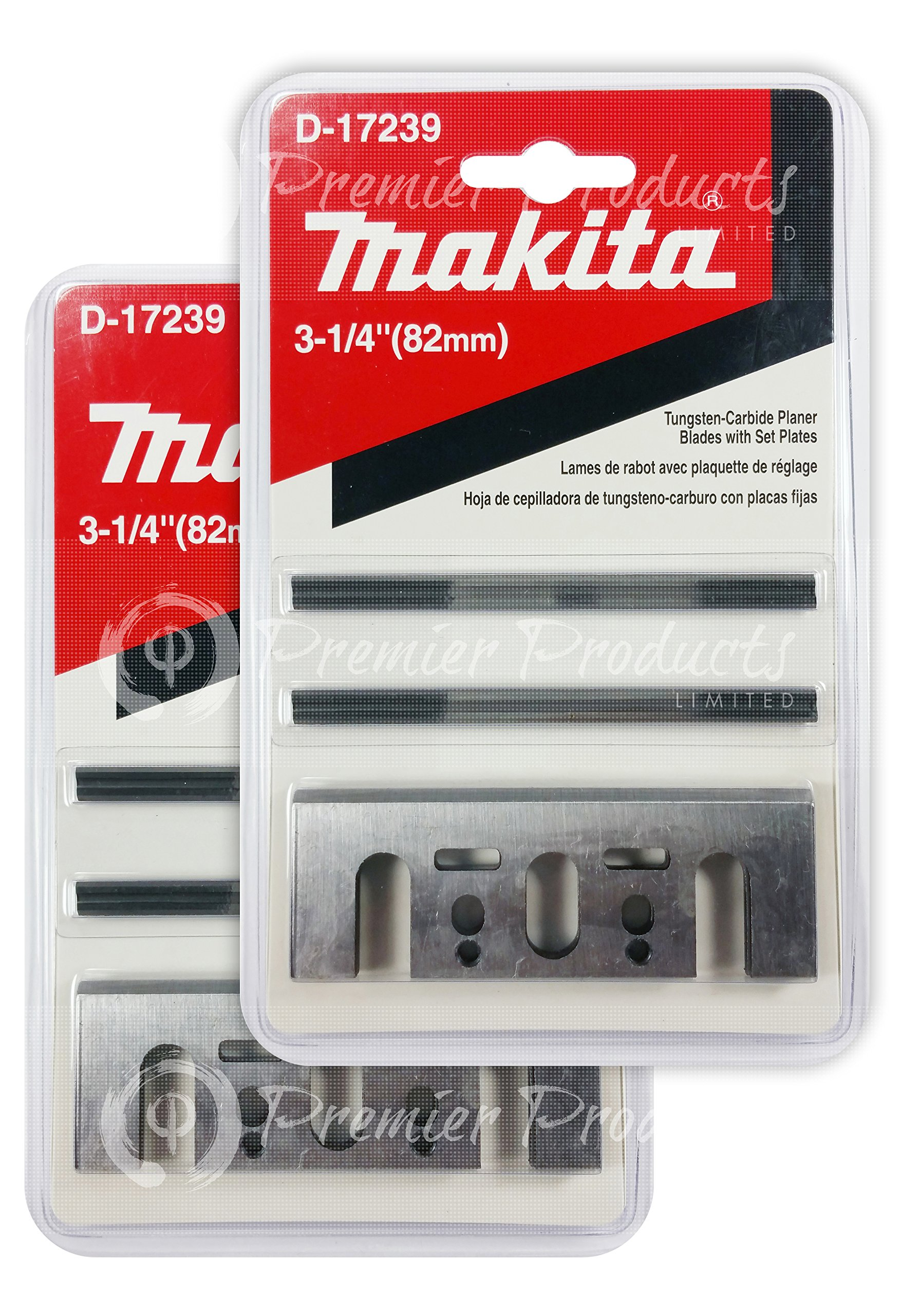 Makita 2 Pack 8 Pc - 3 1 4 Planer Blade Double Edge Set For Planers - Cutting For Hard Wood - 3-1/4'' Tungsten Carbide | 2-Piece Blade by Makita