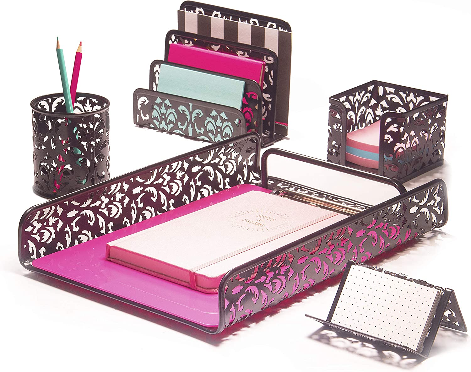 Hudstill Black Cute Desk Organizer Set for Women and Girls in Damask Design with 5 Office Supplies Accessories : File Tray, Mail Sorter, Pen Cup, Sticky Notes Holder and Business Card Holder