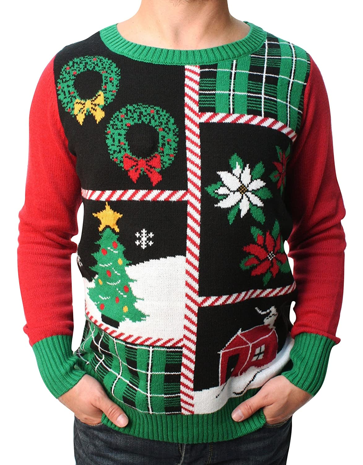 Ugly Christmas Sweater Teen Boy's Christmas Collage LED Light Up Sweater TB-SWP5-5450BMG2-BLACK-Parent