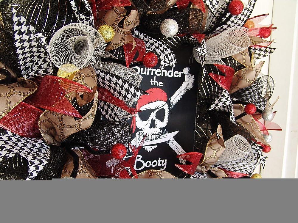 Party Decoration Halloween Prop Decor Porch Patio Outdoor Surrender the Booty Pirate Skull Crossbones Skeleton Deco Mesh Front Door Wreath Gasparilla Pirate Festival