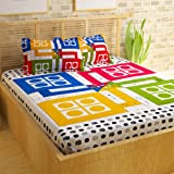 Story@Home Premium Vintage 152 TC Cotton Double Bedsheet with 2 Pillow Covers - Ludo, Multicolour