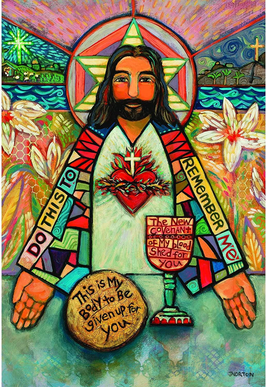 Amazon Com Dicksons Jesus Holy Communion Artistic Floral Polyester Rectangular Small Garden Flag Garden Outdoor