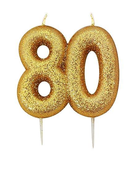 Oro número vela – 80: Amazon.com: Grocery & Gourmet Food