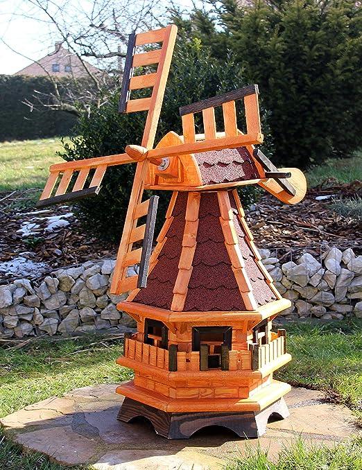 Molino de viento decorativo con solar rojo tipo 17: Amazon.es: Jardín