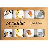 """Muslin Baby Swaddle Blankets - """"Safari Friends"""" - 4 Pack - CuddleBug 47 x 47 inch Large Muslin Swaddles - Soft Cotton Blankets - Baby Shower Gift - Perfect for Nursery Sets - Unisex"""