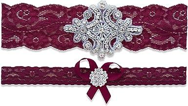 Burgundy Maroon Wine Checked Gingham Print White Lace Wedding Bridal Garter