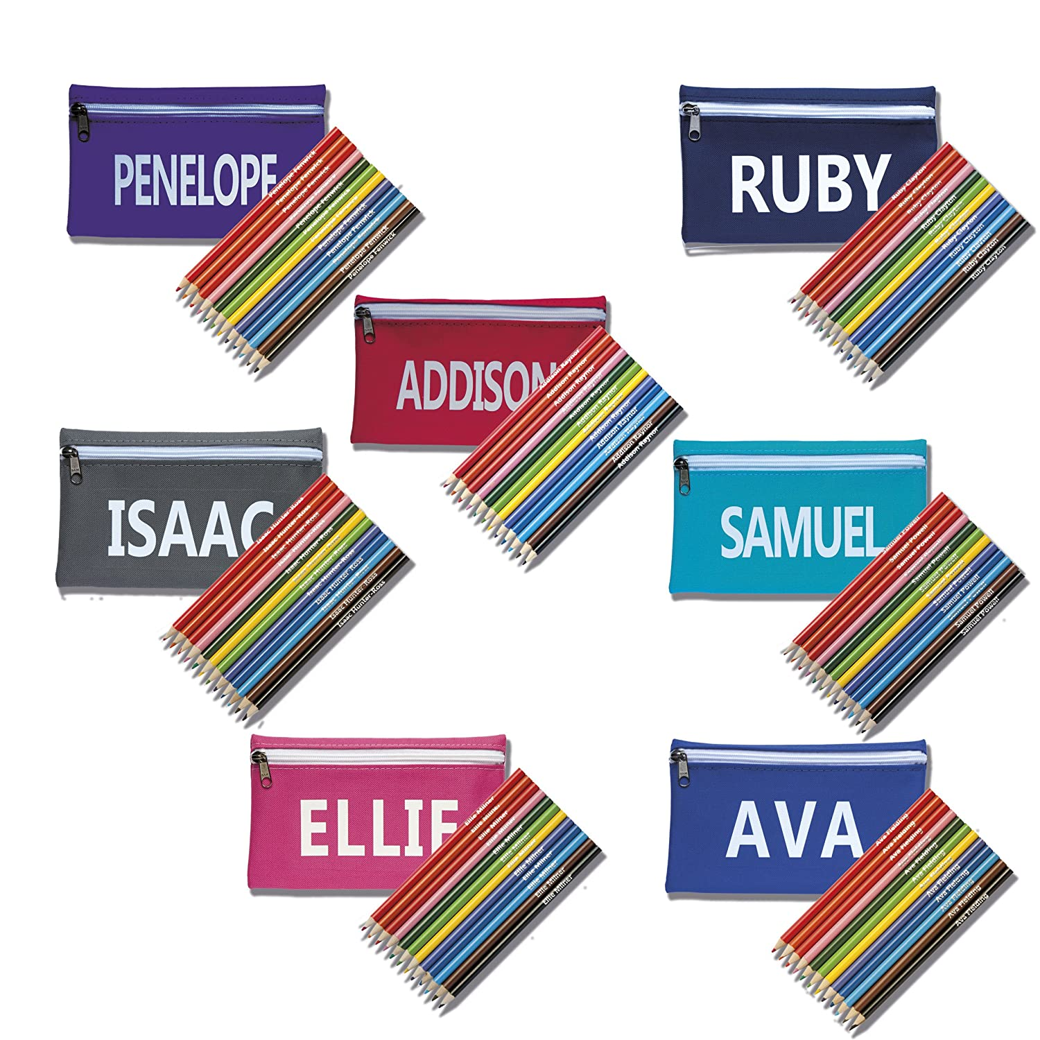 Zip Pencil Case with Pencils personalised with name (Royal Blue) That' s My Pencil