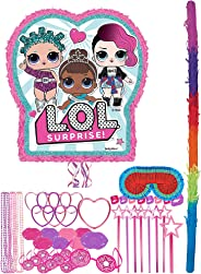 Party City Pull-String L.O.L. Surprise! Pinata Supplies, Includes Pinata, Pinata Stick, Blindfold, Favors for 8 Guests