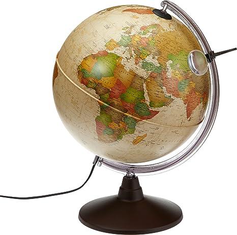 Idena 569904 Geografischer Globus mit Licht und Lupe, 30 cm