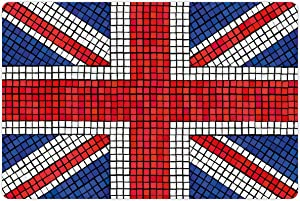 Ambesonne Union Jack Pet Mat for Food and Water, Mosaic Tiles Inspired Design British Flag National Identity Culture, Non-Slip Rubber Mat for Dogs and Cats, 18