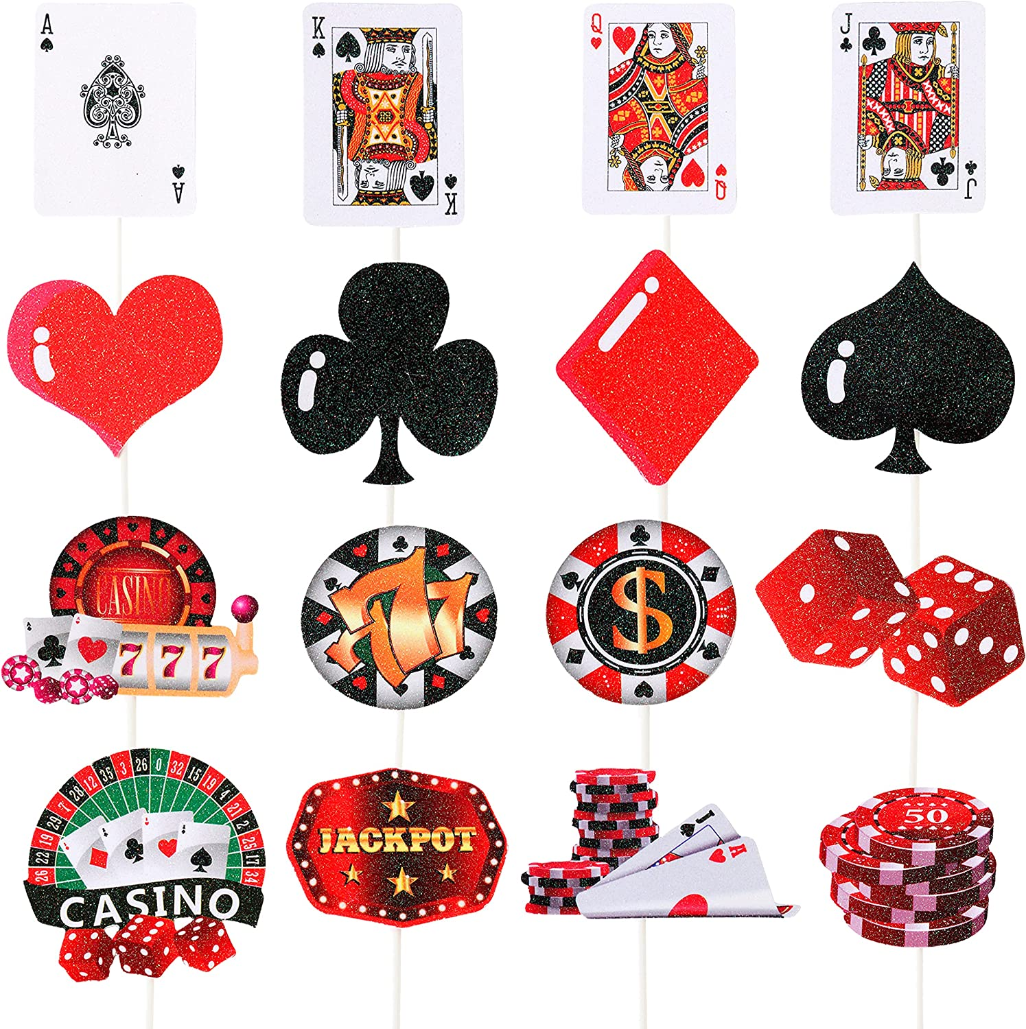 32pcs Casino Poker Party Decorations,Poker Theme Birthday Cupcake Toppers for Las Vegas Casino Night Poker Events Birthday Supplies