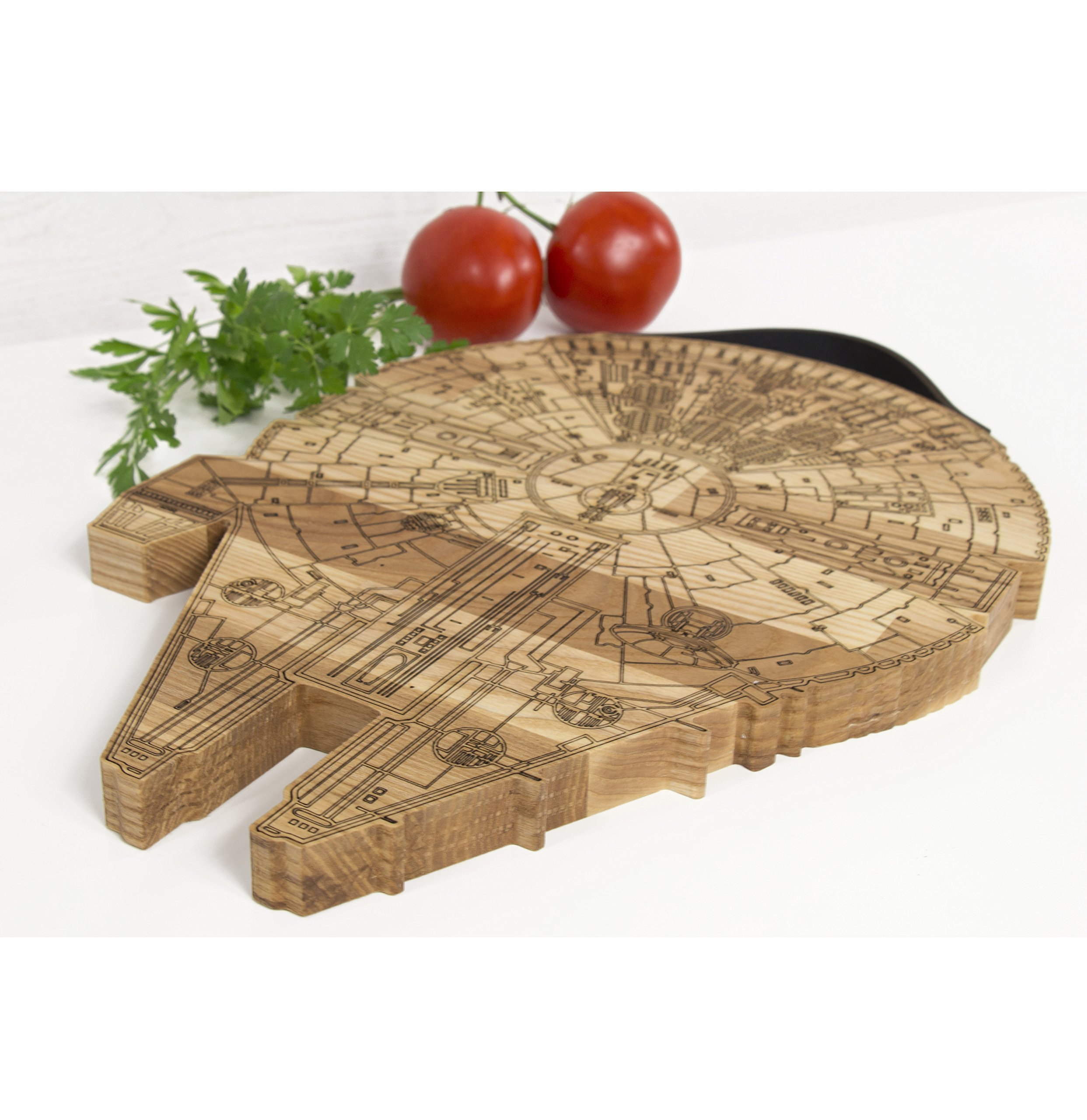 Millennium Falcon Board - Wooden Cutting Board - Engraved Wooden Plate - Rustic Cutting Board - Futuristic Serving Platter - Valentines Gift