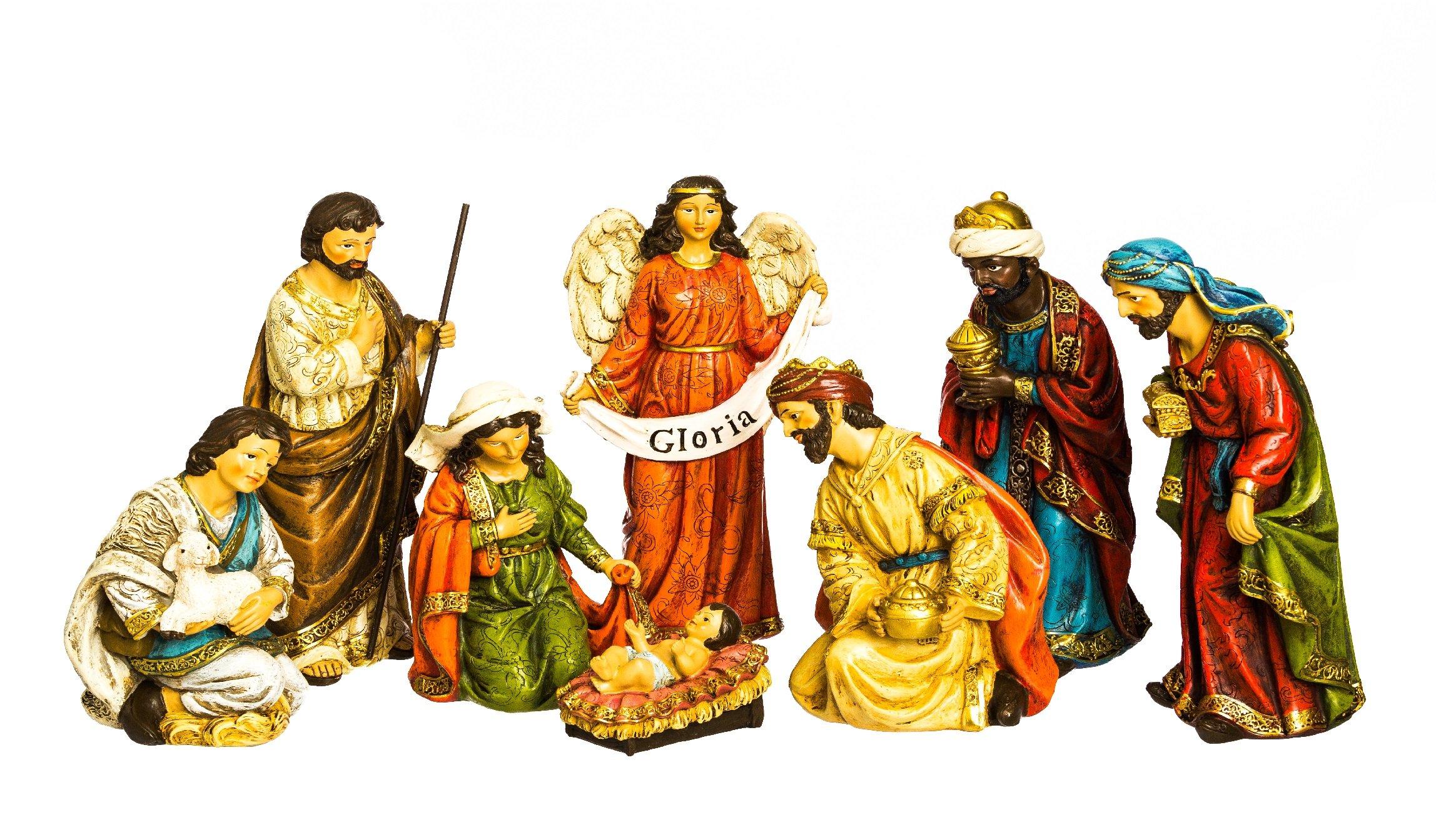 Evergreen 8-Piece Gloria Golden Flourish Outdoor-Safe Nativity Set by Evergreen Flag & Garden