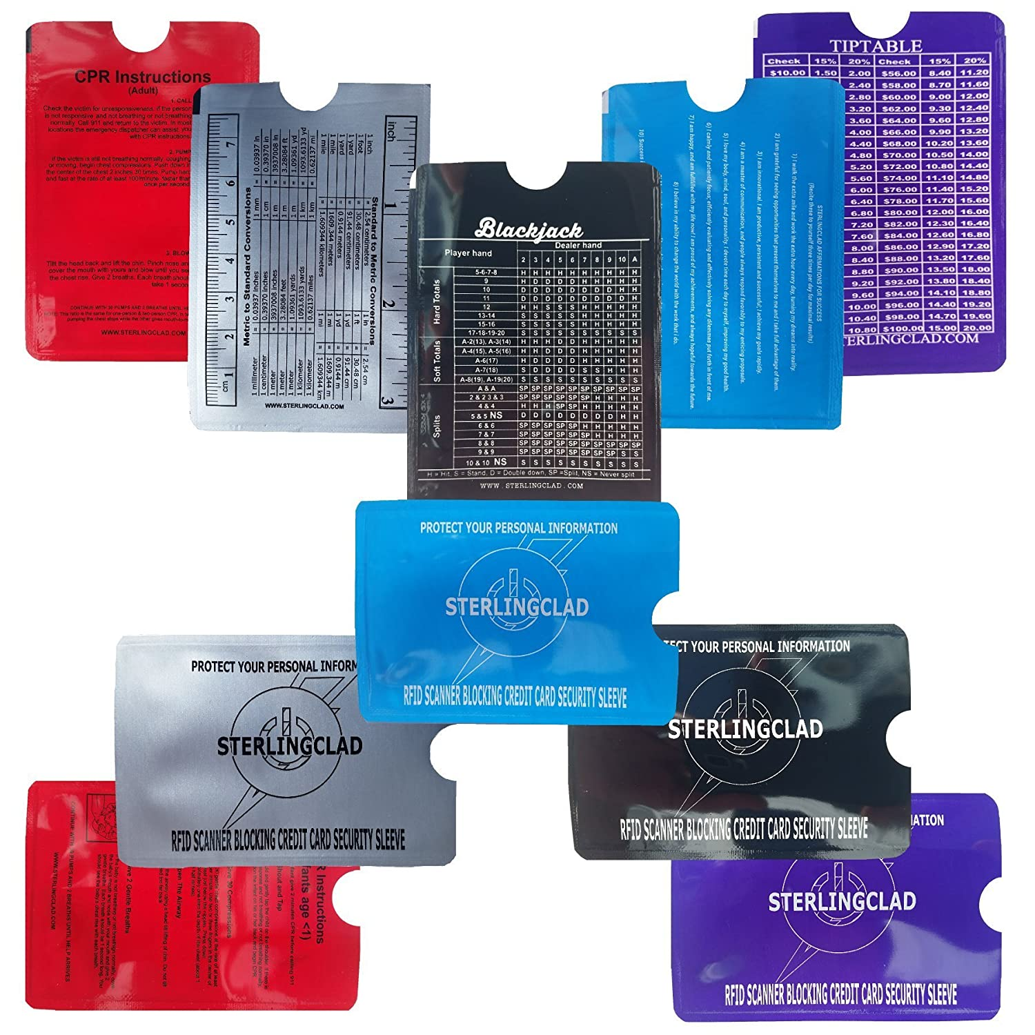 Stocking stuffers, Credit Card and ID BLOCKER Sleeves with Math Flash card, Tiptable, Rulers, CPR, stop ID Theft- 2 of each design. Best Stocking stuffer STERLINGCLAD