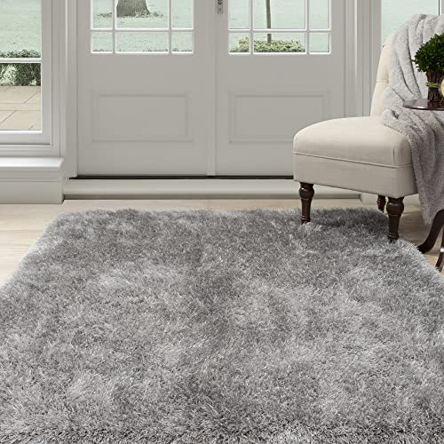Lavish Home Lavish Home Shag Area Rug, Grey, 8 x 10