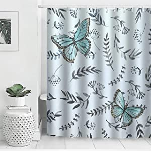 """AYASW Waterproof Fabric Shower Curtain Set with Hooks Natural Decor Printed Style Summer Breeze Butterfly 72""""x72"""""""