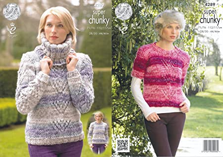 864ee3120 Image Unavailable. Image not available for. Colour  King Cole Ladies Big  Value Super Chunky Tints Knitting Pattern Lace Effect Sweaters ...
