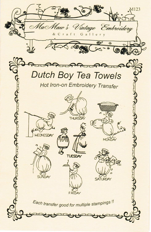 Little Dutch Van Het Motifs for Tea Towels Hot Iron Embroidery Transfers