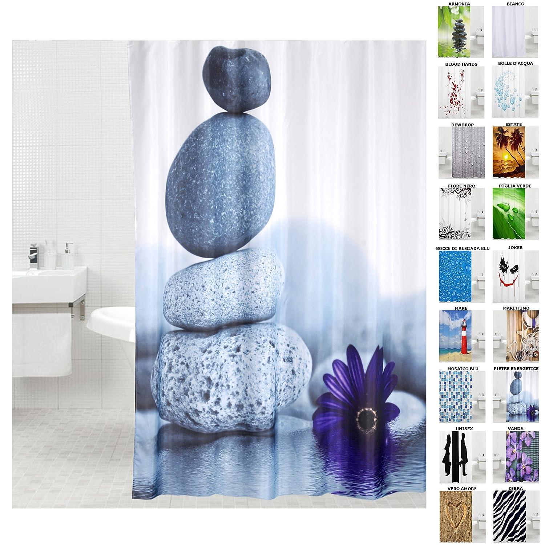 Tenda da doccia | grande scelta di belle tende da doccia di alta qualità | 12 anelli inclusi | impermeabile | effetto anti-muffa (180 x 200 cm, Pietre energetice) SANILO