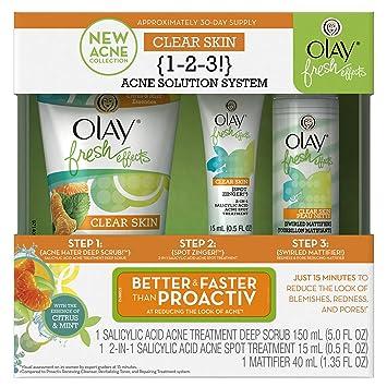 Amazon.com : Olay Fresh Effects Clear Skin 1-2-3 Acne Solution ...