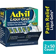 Advil Liqui-Gels Pain Reliever and Fever Reducer, Solubilized Ibuprofen 200mg, 100 Count (50 Packets of 2 Capsules), On the G