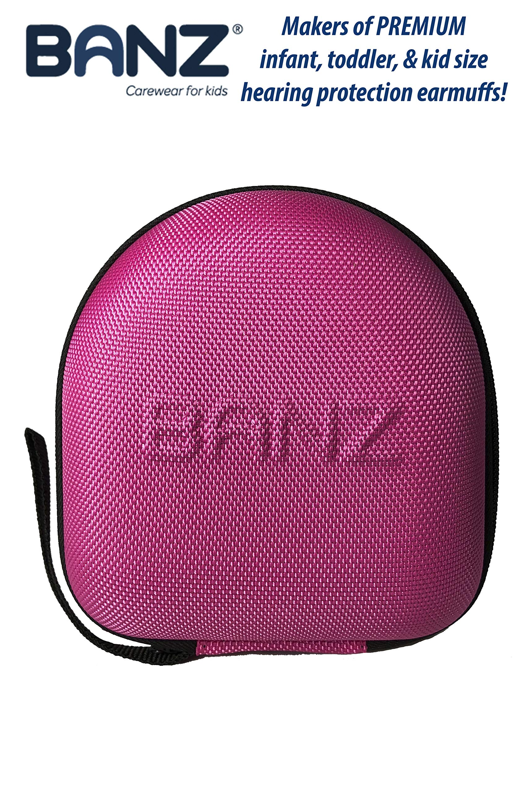 Banz Kids Earmuffs CASE (NOT Baby Size) - Protective Premium Hard EVA Case - Holds BANZ Kids Size Headphones - Protect Children Hearing Earmuffs - Travel Case (Pink)