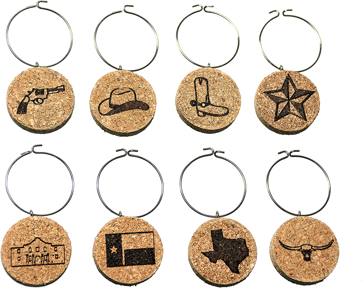 Texas Wine Charms (20+ Unique Sets) Cork Wine Glass Charms - Set of 8 Texas Charms, Texas Themed Gifts/Souvenirs - Wine Glass Accessories, Texas Wine Gift Basket for Wine Lover - Drink Identifiers