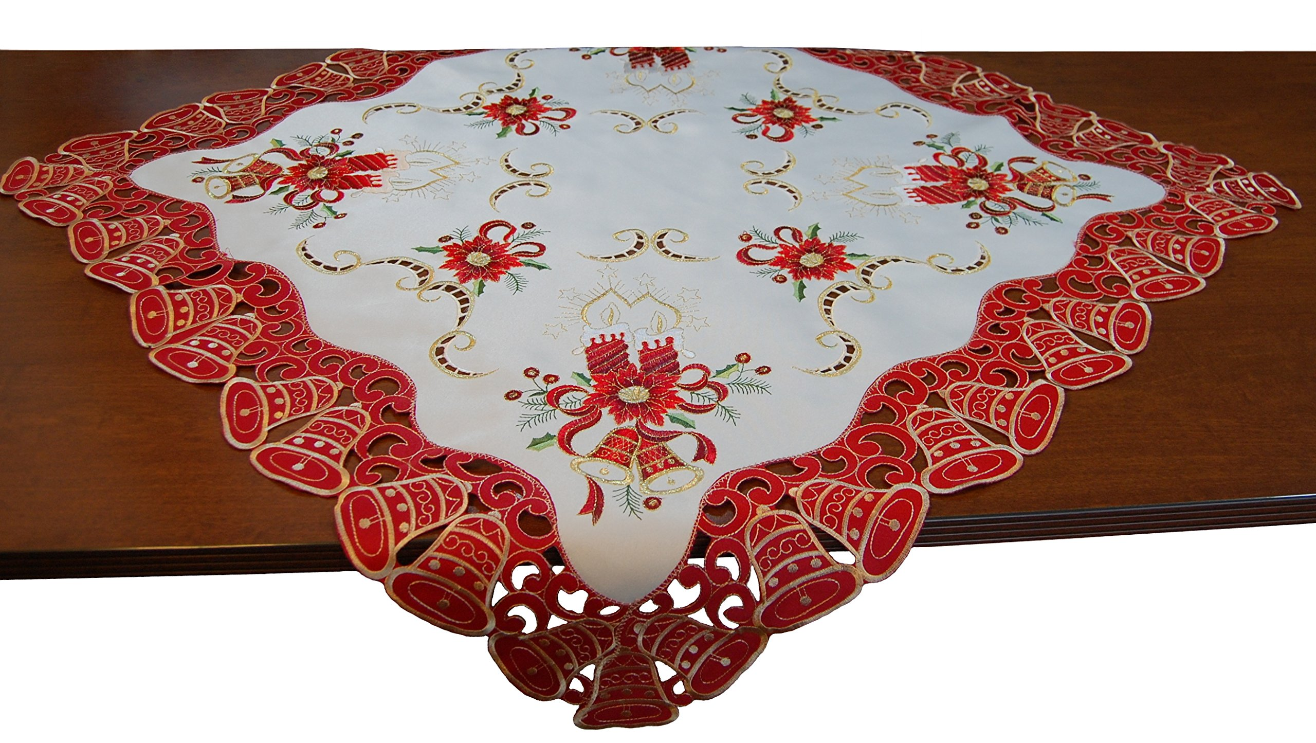 EcoSol Designs Embroidered Christmas Bells (34''x34'', Red White Gold) Table Cover/Topper
