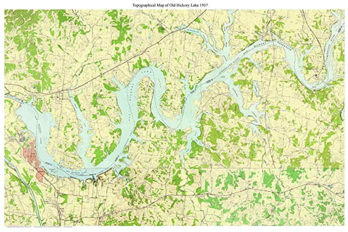Old Hickory Lake Topographic Map.Amazon Com Old Hickory Lake 1957 Old Map Topo Nashville Cumberland