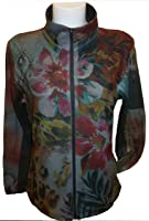 H&j Womens Floral Print Micro Fleece Jacket