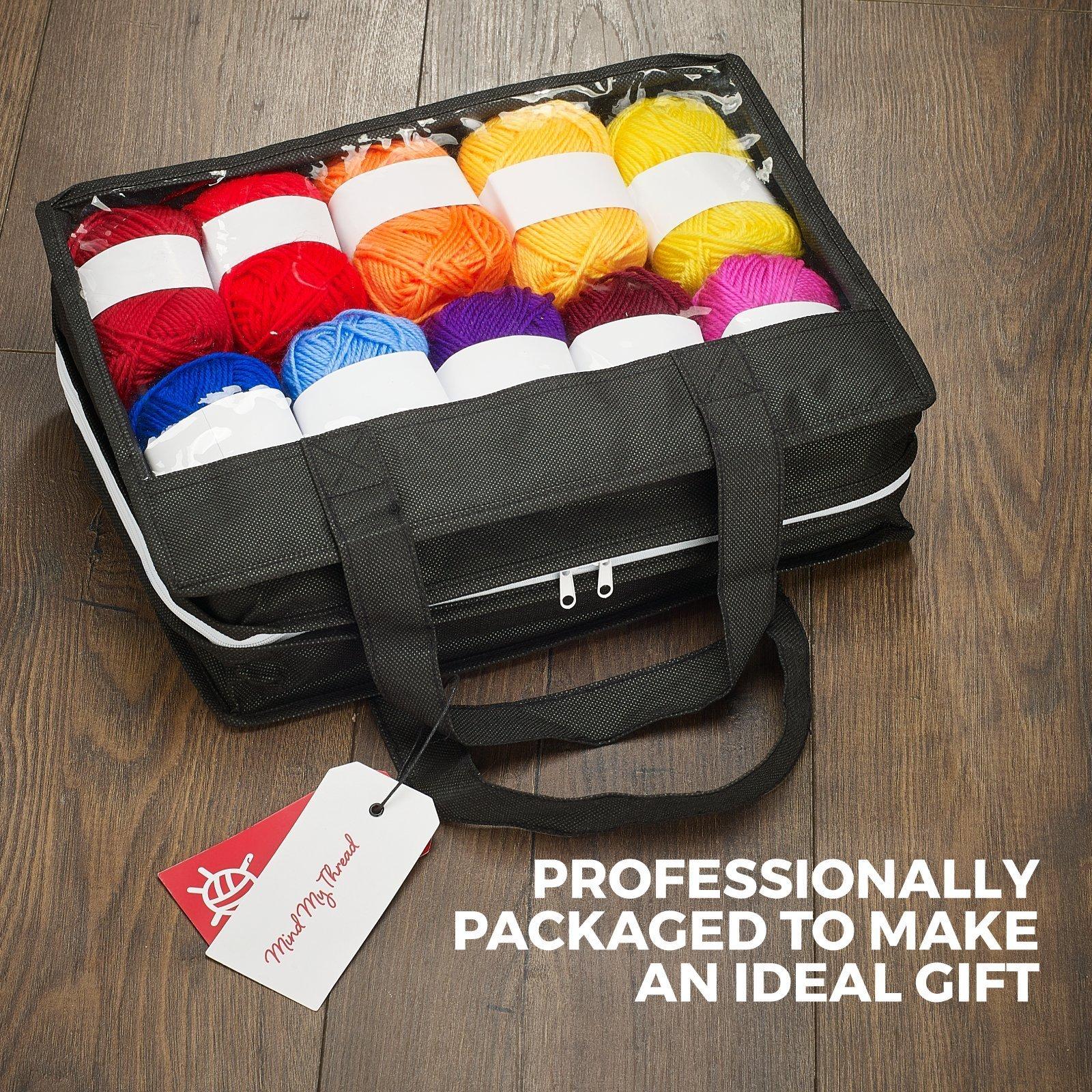 Mind My Thread 20 Super Soft Acrylic Yarn Skeins Set | Assorted Colors Crochet & Knitting Craft Yarn Kit with Reusable Storage Bag & Bonus Crochet Hook | 20 Colors Yarn Multi Pack by Mind My Thread (Image #5)