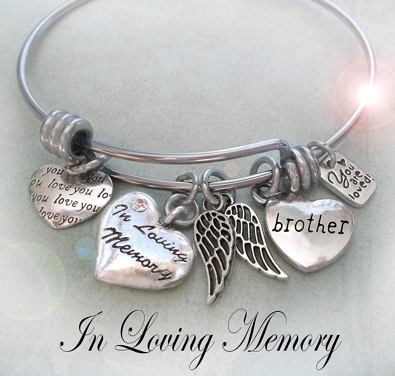 In Loving Memory Brother Memorial Bangle Bracelet, Grieving Sister Gift, Bereavement, Sympathy Gift, 4 sizes, Girls, Teens, Medium Women or Large