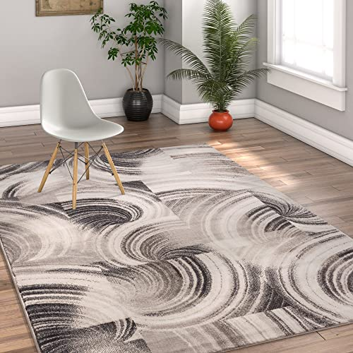 Well Woven Effortless Intricacies Grey Area Rug 8 x 11 7 10 x 10 6 Modern Geometric Abstract Lines Waves Squares