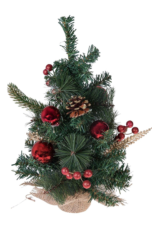 Clever Creations Arbolito de Navidad para Encima de la Mesa 04-Bolas Rojas y arpillera