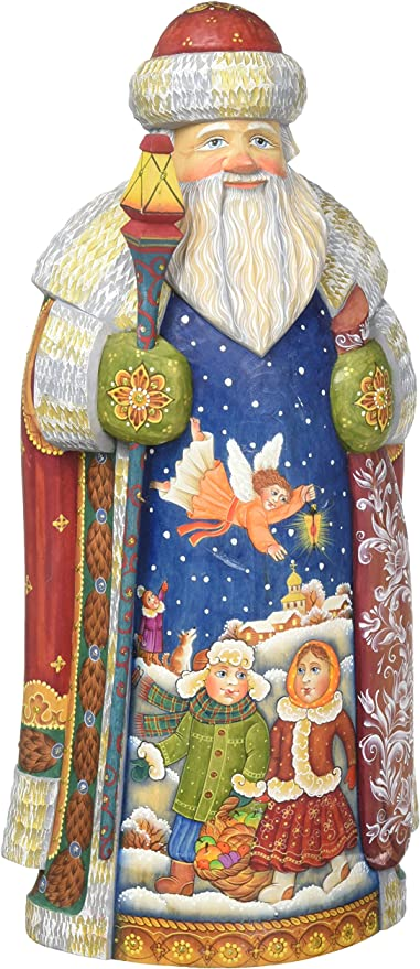 Amazon Com G Debrekht Guarded Kids Father Frost Santa Carved Wood And Hand Painted Figurine Home Kitchen