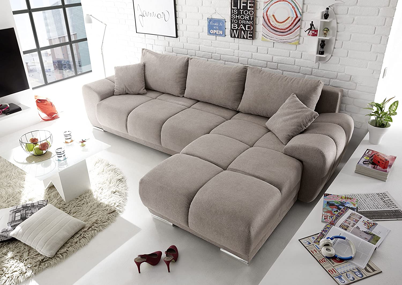 Moebel Guenstig24 De Ecksofa Couch Schlafcouch Schlafsofa Funktionssofa Ausziehbar Taupe 289 Cm Amazon De Kuche Haushalt