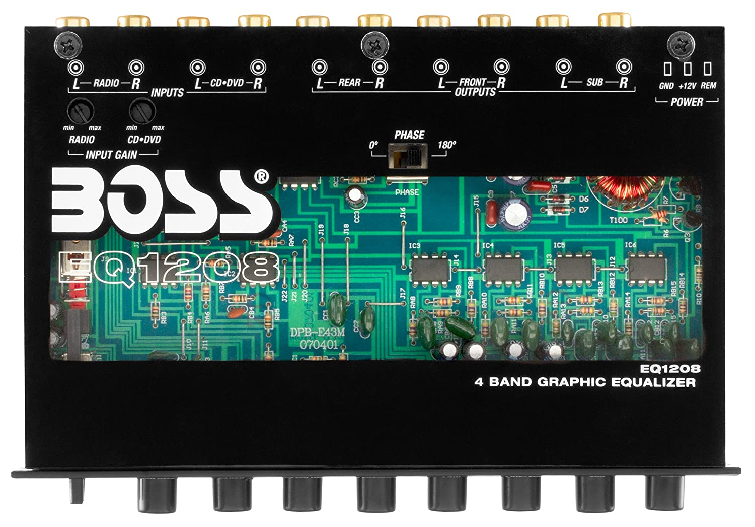 Boss Eq1208 4 Band Pre Amp Equalizer With Subwoofer Output Master Low Noise Amplifier Circuit Sound Control Garden Outdoors