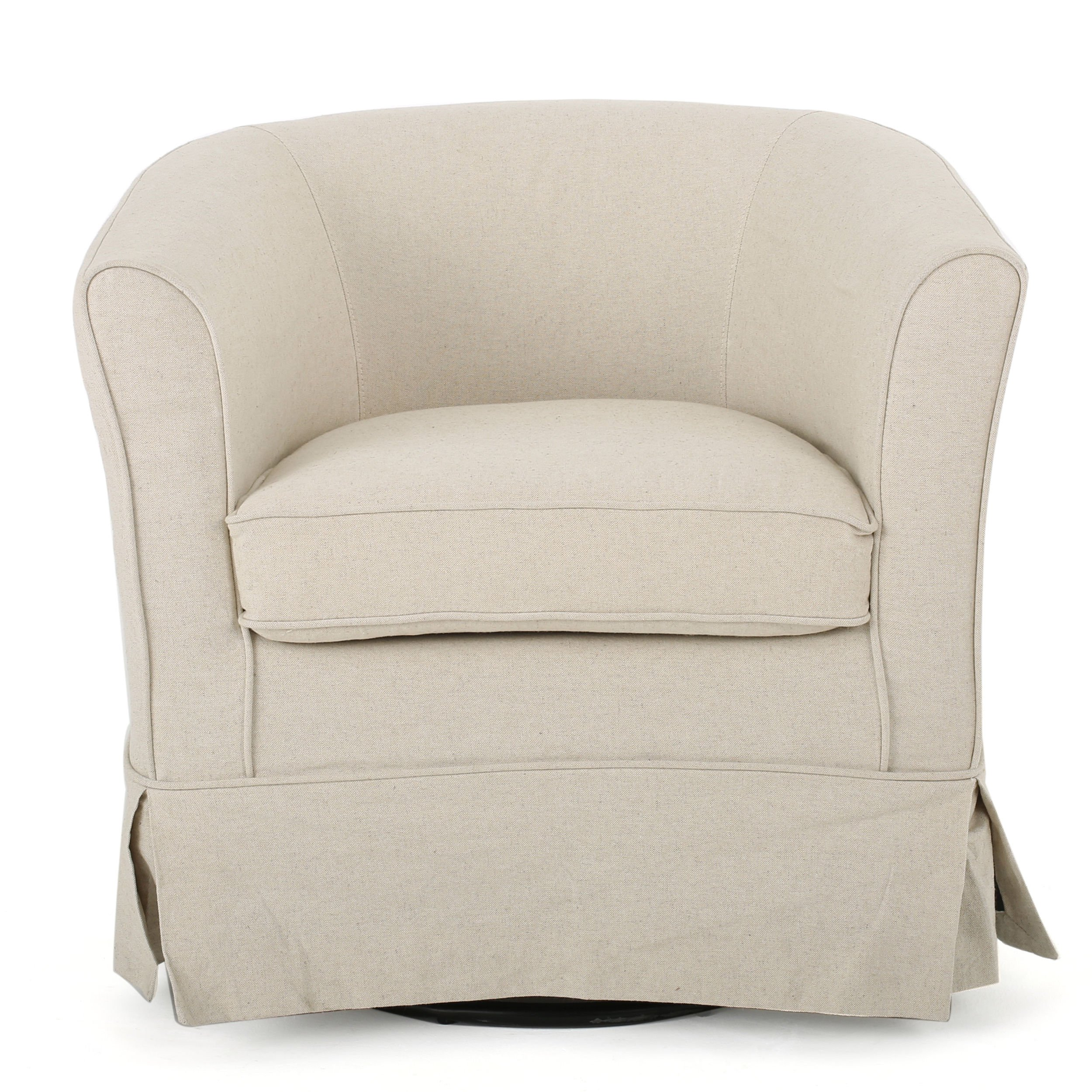 Swivel Club Chair Contemporary Natural Off White Fabric 27.25'' H x 28.75''W x 27.50''D