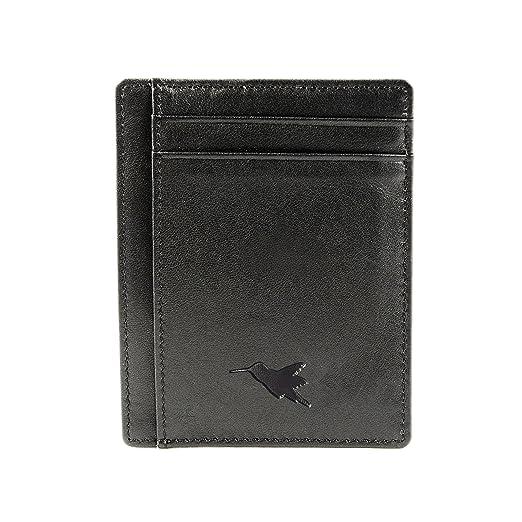Tarjetero Delgado Anti-RFID de Nomalite | Cartera/Billetera Slim Negra de Cuero Vegan, Bloqueo RFID, 4 Huecos para Tarjetas de crédito y 1 para Billetes.