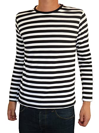 84522b32ffc Mens Long Sleeve Striped T-shirt Black and White Indie Mod Top